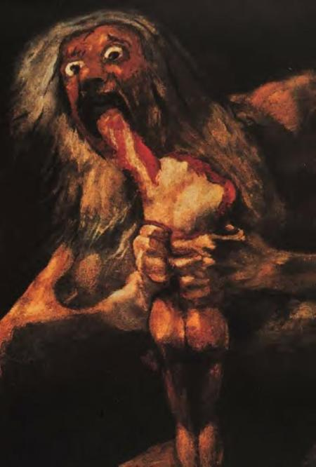 The Titan Kronos eating his children by Goya.